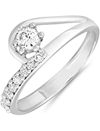 Mahi Rhodium Plated Arched-Glitter Finger Ring With CZ For Women FR1100653R