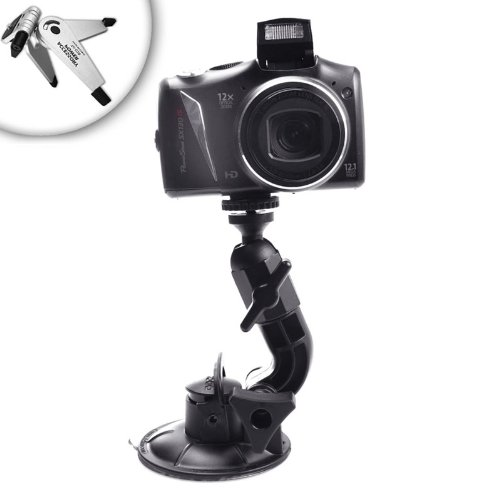 Heavy-Duty Adventure Camera and Video Suction Mount for Canon PowerShot A495 , S95 / Sony CyberShot HX5V / Kodak C123 Sport & Many More Digital Cameras **Includes Mini Tripod