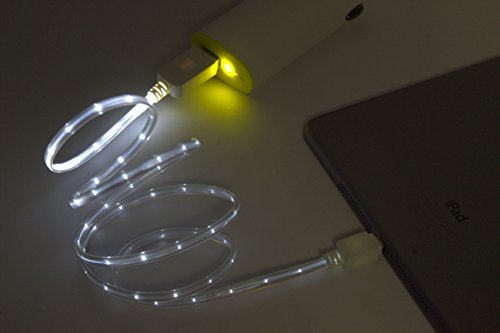 Bluefinger, Amazing Led Data & Charge Cable, Luminous Beam Of Flowing Current , 1 Meter, For Iphone 5 (White)