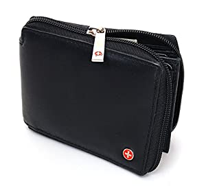 Alpine Swiss Zippered Bifold Men's Wallet with Deluxe Credit Card Flip Pocket Genuine Lambskin Leather Comes in a Gift Bag -Black