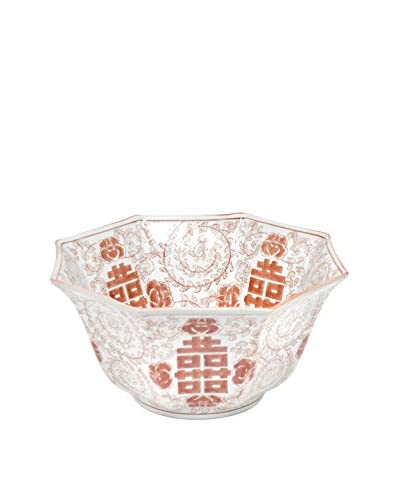 Three Hands Hex Red/White Ceramic Bowl