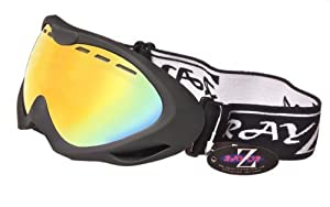 2013 Rayzor Professional UV400 Double Lensed Ski / SnowBoard Goggles, With a Matt Black Frame and an Anti Fog Coated, Vented Gold Iridium Mirrored Anti-Glare Wide Vision Clarity Lens.