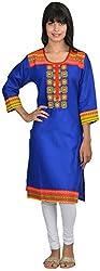 Goodyygoods Women's Cotton Regular Fit Kurti (GG 38, Blue, Large)
