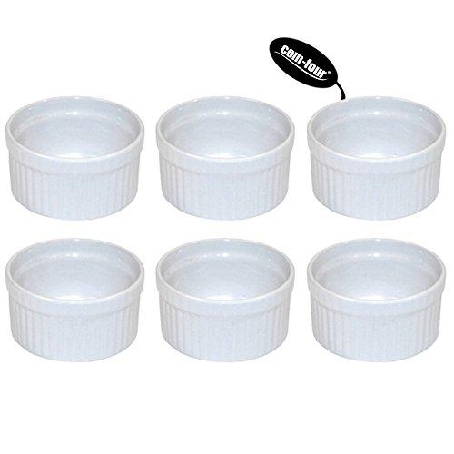 Com-Four Lot de 6Bols à ragout fin, plat à gratin, moules Tourte Crème Brûlée, blanc