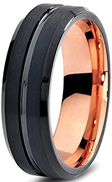 buy Tungsten Wedding Band Ring 6Mm For Men Women Black & 18K Rose Gold Beveled Edge Brushed Polished Lifetime Guarantee