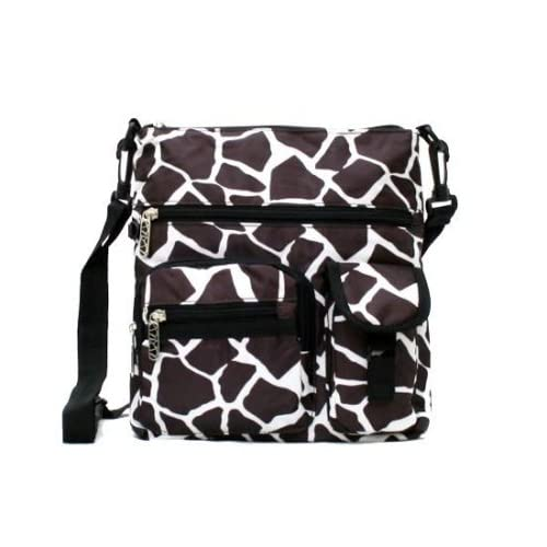Animal Print Nylon Crossbody Handbag Bag - Choose Giraffe or Zebra Print