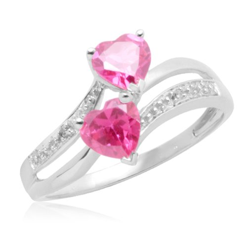 10k White Gold Double Heart-Shaped Created Pink Sapphire with Diamonds Heart Ring, Size 6