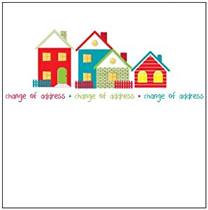 Change of address houses note cards 5 x new home note for Change of address note cards