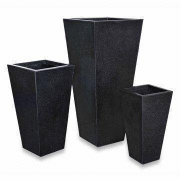 Plant Pot - Black Terrazzo Tapered Tower 33x33x62cm