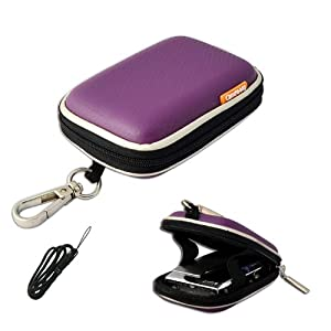 New first2savvv outdoor heavy duty purple camera case for Canon IXUS 230 HS with black camera hand strap