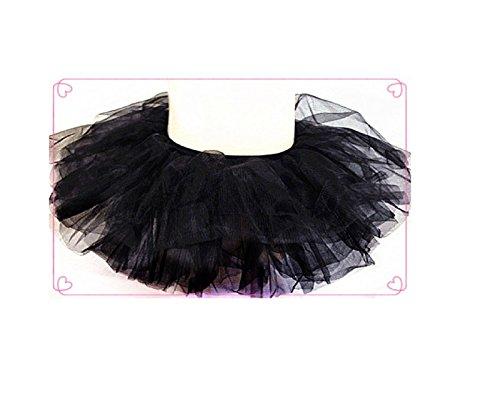 Pink - Girls Basic Ballerina Tutu Ballet Dress-up 3 Layer Tulle Skirt (Black) - 1