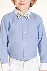 Autograph Pure Cotton Classic Collar Shirt with Bow Tie [T88-4669A-Z]