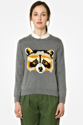 L!VE Long Sleeve Crewneck Intarsia Raccoon Sweater
