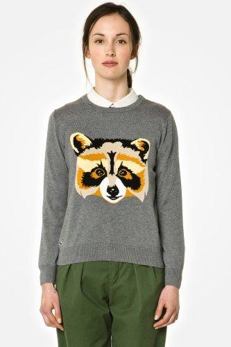 L!VE Long Sleeve Crewneck Intarsia Raccoon Sweater