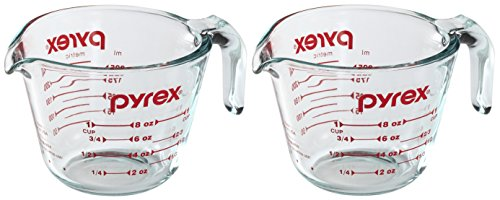 Pyrex Prepware 1-Cup Glass Measuring Cup, Clear with Red Measurements, Pack of 2 Cups