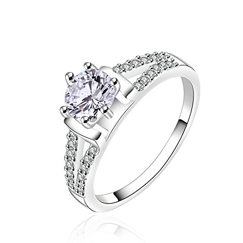 FENDINA Womens Silver Plated Classic CZ Crystal Solitaire Promise Engagement Wedding Ring Eternity Anniversary Band Her Valentin's Day Gift