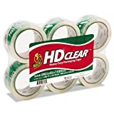 Duck Brand HD  Packaging Tape, 1.88 inch x 54.6 Yard, Crystal Clear, 6 Rolls (CS-55-6pk)