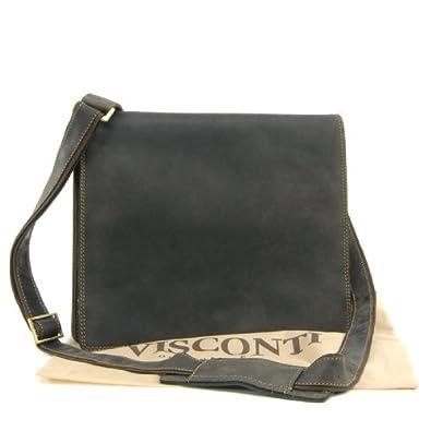 Sac Besace en cuir signé Visconti - gibecière (16025) - Marron Foncé