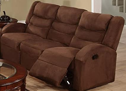 Bobkona Motion Sofa in Chocolate Microfiber / Faux Leather by Poundex