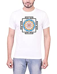 "JE Multitrade 100 % Cotton White Color Graphics Printed T Shirt For Men's.(THEME INDIA ""COLLECTION OF INDIAN YANTRAS..."