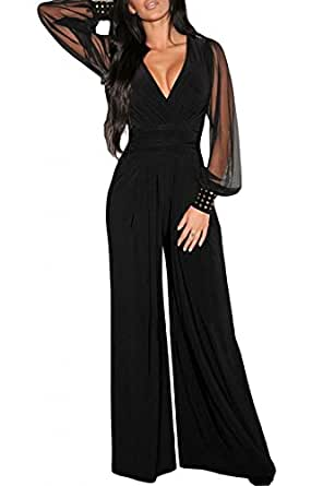 Cfanny Women S Sparks Cuff Mesh Sleeves Wide Leg Tunic