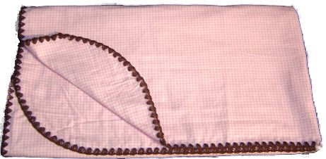 Pink & Brown Reversible Swaddling Blanket (Pink Ginham)