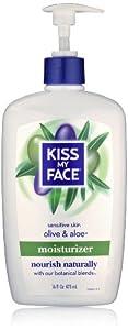 Kiss My Face Olive & Aloe Moisturizer for Sensitive Skin, 16-Ounce Bottles (Pack of 3)