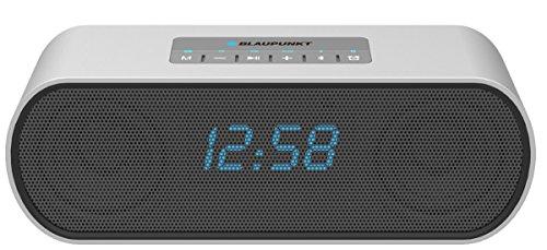 Blaupunkt BT15CLOCK Tragbar Bluetooth Lautsprecher Sprecher, MP3-Player micro SD (128GB), Radio, Wecker, Akku 4000mAh