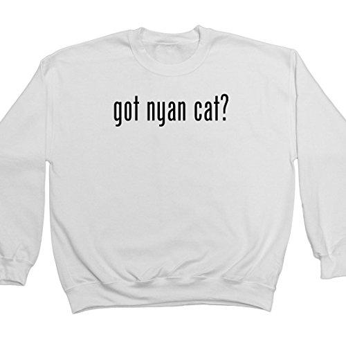 got nyan cat? Adult Men's Crewneck Sweatshirt, White, Medium