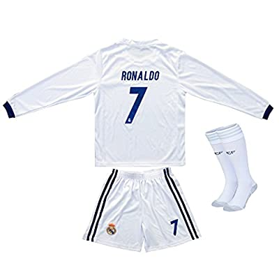2016/2017 Real Madrid RONALDO #7 Home Long Sleeve Soccer Kids Jersey & Short Set Youth Sizes
