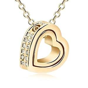 Amazon.com - Parati(TM) Fashion Jewelry Two-Hearts Austrian Crystal