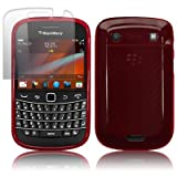 BLACKBERRY BOLD 9900 RED GEL SKIN CASE / COVER + SCREEN PROTECTOR PART OF THE QUBITS ACCESSORIES RANGEby Qubits