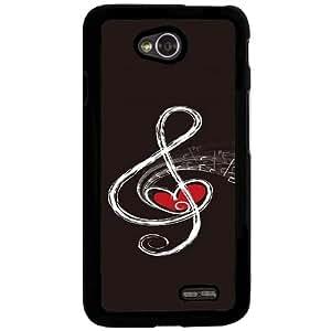 Casotec Love Note Music Design 2D Hard Back Case Cover for LG L70 - Black