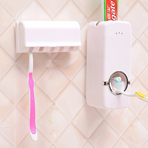 Hands Free Automatic Toothpaste Dispenser Modern Toothpaste Squeezer & Toothbrush Holder Kit Set 5 Brushes Shelf for Family House Dorm Toilet Bathroom Washing (White)