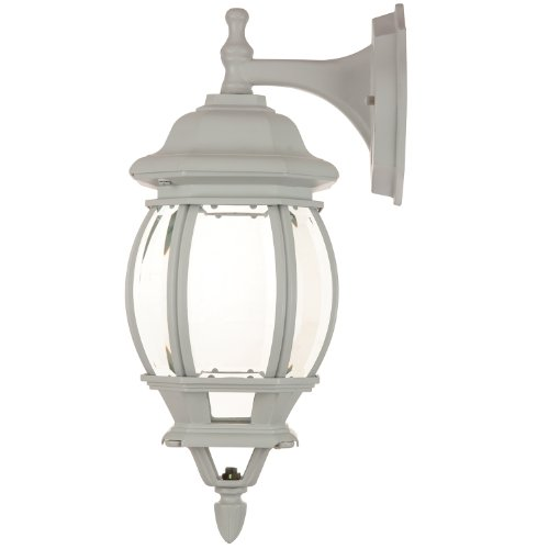 Sunlite ODI1080 16-Inch Decorative Carriage Style Wall Mount Down Outdoor Fixture, White Finish with Beveled Glass