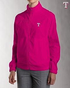 Texas Rangers Ladies Ladies WeatherTec Camano Full Zip Jacket Ribbon Pink by Cutter & Buck
