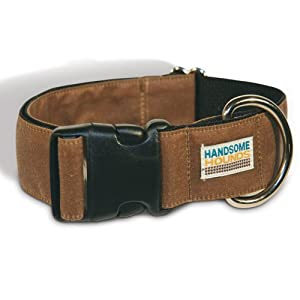 Handsome Hounds Wax Cotton Dog Collar, Small, Antique Brown