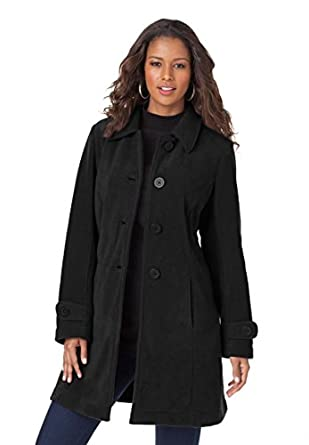 Roamans Women's Plus Size Big Button Fleece Jacket (Black,2X)