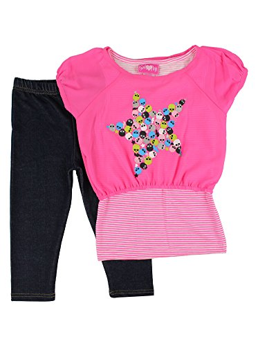 Alfa Global Baby Girl'S Infant Solid Legging Pants Set With Two Tops W/Star Print 6T Pink back-899685