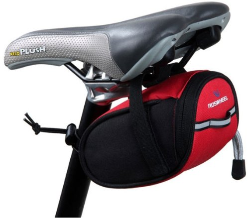 Bike Bicycle Cycling Strap-On Saddle Bag Seat Bag Outdoor Pouch Red front-59380