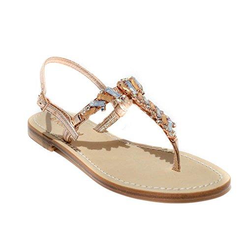 DG POsitano sandalo gioiello donna pelle rame made in italy tacco 1 art.4704 41