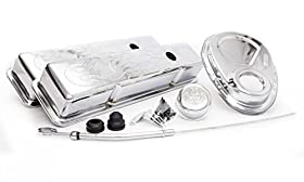 Racing Power Company R3033 Engine Dress-Up Kit with Short Flamed Valve Cover for Small Block Chevy
