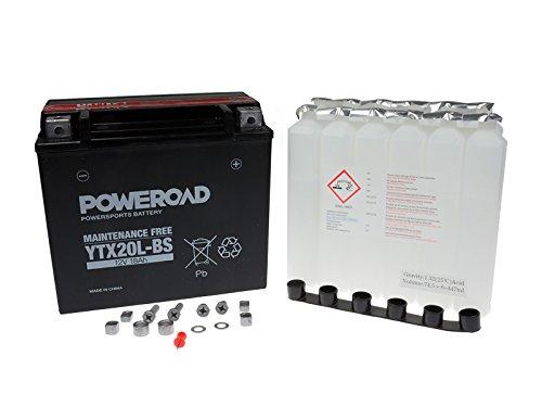 Batterie-MF-Poweroad-YTX20L-BS-18AH-fr-Bombardier-Buell-CAN-AM-Cectek-CFMOTO-Harley-Davidson-Honda-Kymco-Linhai-Masai-Moto-Guzzi-Triumph-Yamaha
