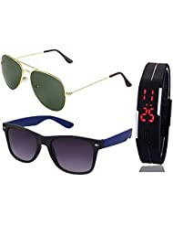 GOLDEN GREEN AVIATOR SUNGLASSES AND BLUE WAYFARER SUNGLASSES WITH TPU BAND RED LED DIGITAL BLACK DIAL UNISEX WATCH...