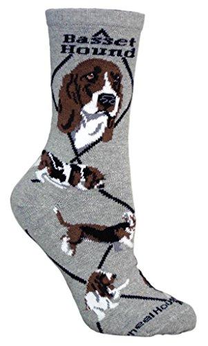 Basset Hound Dog Gray Cotton Ladies Socks, Adults 9-11