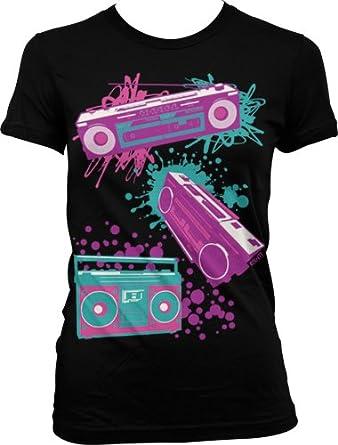Neon Boom Boxes Juniors T-shirt, Girls Juniors Oversized Neon Design Shirts , Small, Black