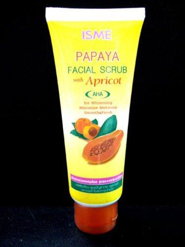 isme-papaya-facial-scrub-with-apricot-whitening-anti-melasma-blemish-freckles-by-carun