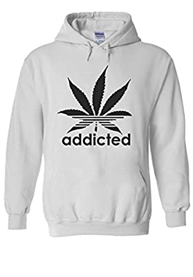Addicted Cannabis Weed Logo Novelty White Men Women Unisex Hooded Sweatshirt Hoodie