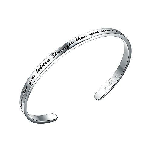 "SOLOCUTE Bracciale Donna Argento ""You are Braver than you believe Stronger than you seem and Smarter than you think"" Braccialetto Gioielli"