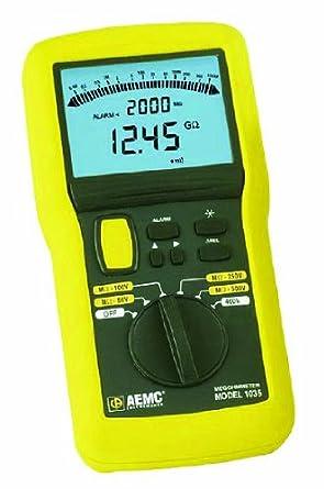 AEMC 1035 Digital Megohmmeter Field Kit with Test Leads, Probes, Alligator Clips, and Field Case, 20 Gigaohms Insulation Resistance, 400 Kilohms Low-Resistance, 600V